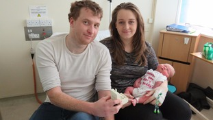 Newborn baby arrives just in time to help father propose