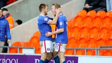 Carlisle United's Mark Ellis celebrates his goal with team mate Danny Grainger.