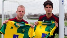 Steven Naismith (left) and Timm Klose (right) pose with their new shirts at Colney.
