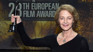 Rampling poses with the 'European Actress' award in Berlin, 2015