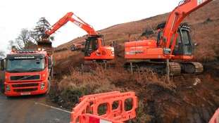 Repair work underway on A59 at Kex Gill after landslide