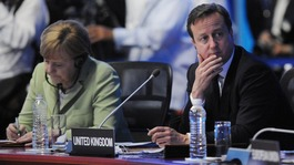 David Cameron and German Chancellor Angela Merkel attend the G20 Summit in Mexico.