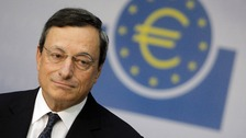 ECB President Draghi speaks during the monthly news conference in Frankfurt