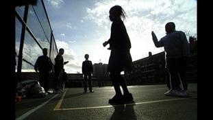Anonymous children in playground