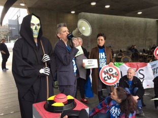 Anti-Trident protesters gathered in Piccadilly Gardens on Saturday