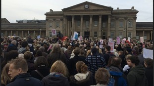 Crowds gather for rally