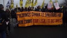 Demonstrators in Calais