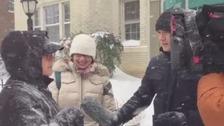ITV News team in action despite snow storm