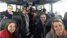 The group of Kentucky students with other stranded motorists on their bus.