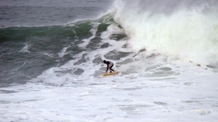 A 15-year-old boy has become the youngest ever surfer to ride the world-famous Cornish Cribbar wave