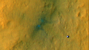 Tracks from the first drives of NASA&#x27;s Curiosity rover are visible