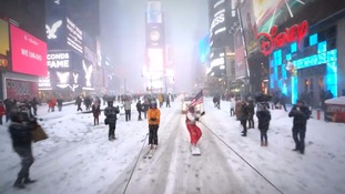 Filmmakers snowboard and ski through New York amid storm