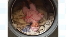 Doll in a tumble dryer