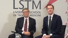 Bill Gates and George Osborne during a question and answer session in Liverpool