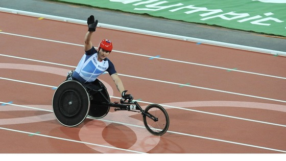 David Weir celebrates his victory in the Men's 800m T54 final.