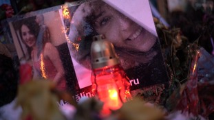 Memorials to the victims of the nightclub fire.