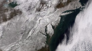 Satellite image shows aftermath of US snowstorm