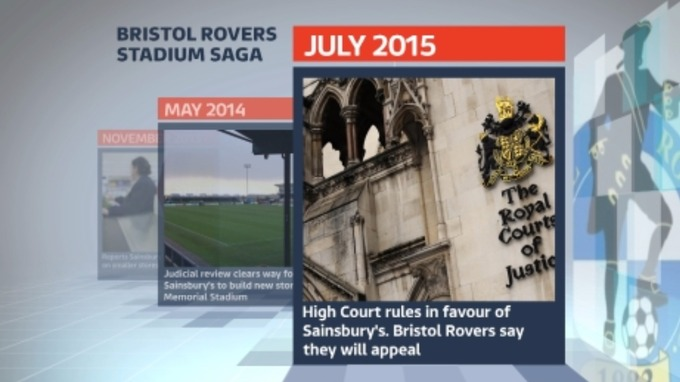 July 2015: Sainsbury's pull out of the deal after a High Court ruling. Bristol Rovers are still contesting that result.