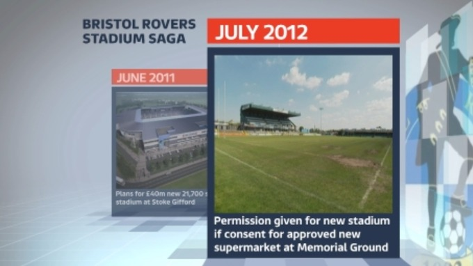 July 2012: permission is granted to the club as long as a new supermarket is approved at the old Memorial Ground.