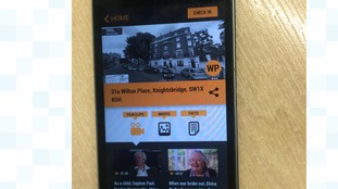 The app features video and audio clips