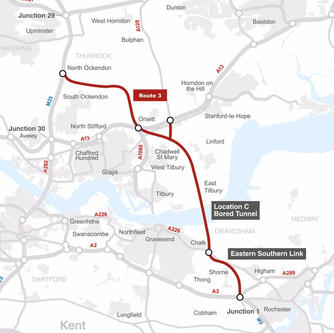 Highways England is consulting on its preferred route for a new road from the M25 to the M2 under the Thames at East Tilbury.