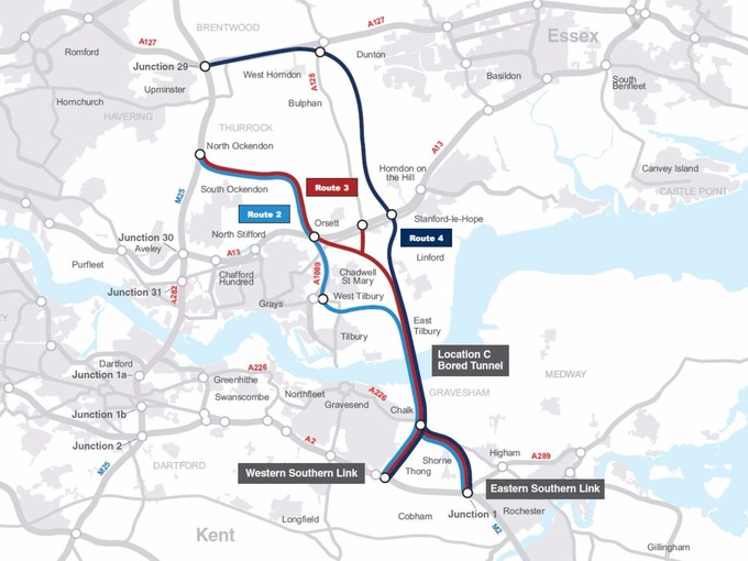 There are various options for the route from the M25 to the M2.