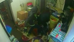 Shocking CCTV of robbers attacking man in chip shop