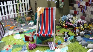 The world's first life-sized knitted garden has gone on show