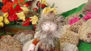Knitted garden gnome