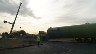 Work is underway to install a giant wind turbine at the RSPB's headquarters in Bedfordshire.