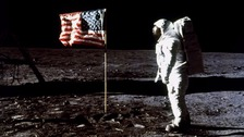 Edwin 'Buzz' Aldrin Jr on the moon in 1969 - there is a lingering conspiracy theory that the moon landings were staged