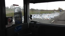 The lorry dropped its load on the M6 Southbound