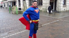 Antonio Cortes dressed as superman