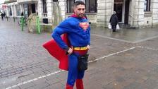 Antonio Cortes dressed as superman