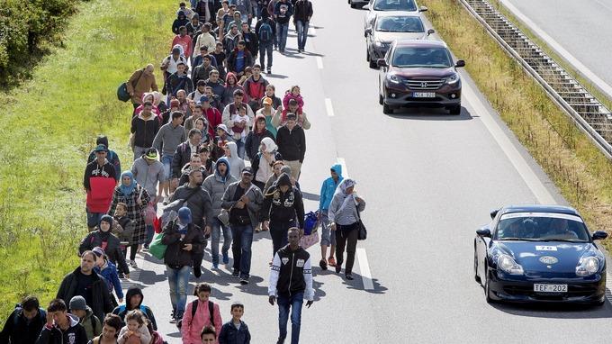 Migrants walking on a highway in Denmark