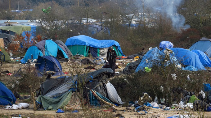 Tents in the Calais 'jungle'