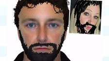 Have you seen this man? actual e-fit and Facebook user joining in the fun (top right)