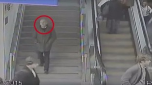 The man was caught on CCTV as he arrived in Manchester
