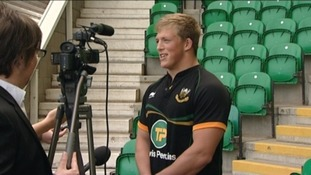 Northampton Saints forward Alex Waller chatting with the media