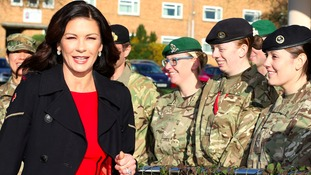 Dad's Army star Catherine Zeta Jones visits army base