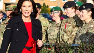 Catherine Zeta-Jones meets soldiers at Bedfordshire base ahead of Dad's Army screening