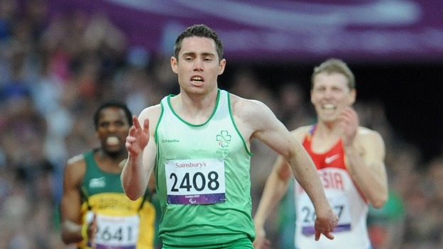 Ireland's Jason Smyth celebrates winning the Men's 100m - T13 Final