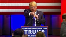 Donald Trump at his event for veterans on Thursday night.