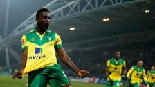 Jamar Loza celebrates his only senior goal for Norwich City at Huddersfield Town last season.