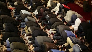 Worshippers at a mosque