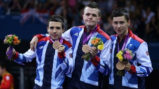 Great Britain's (left to right) Will Bayley, Aaron McKibbon and Ross Wilson celebrate on the podium with their Bronze medals