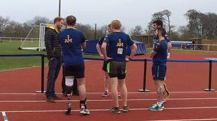 Prince Harry visits athletes on the track