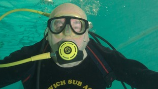Scuba diver takes a dip to celebrate a big birthday