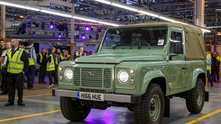 The last Land Rover Defender coming off the production line at Solihull.