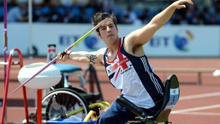 Great Britain's Nathan Stephens prepares to throw in the Olympic Stadium.